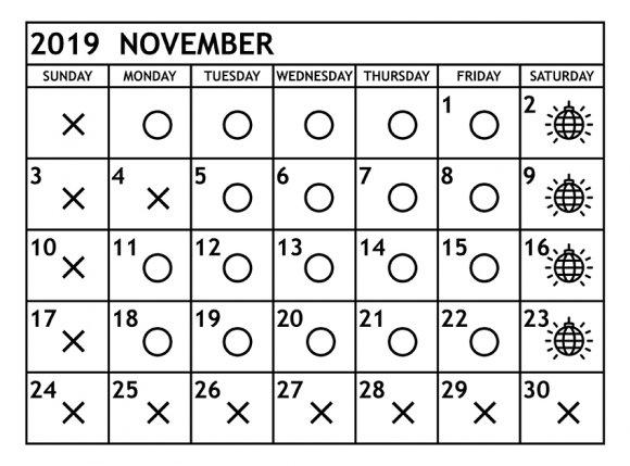 11月の営業予定日