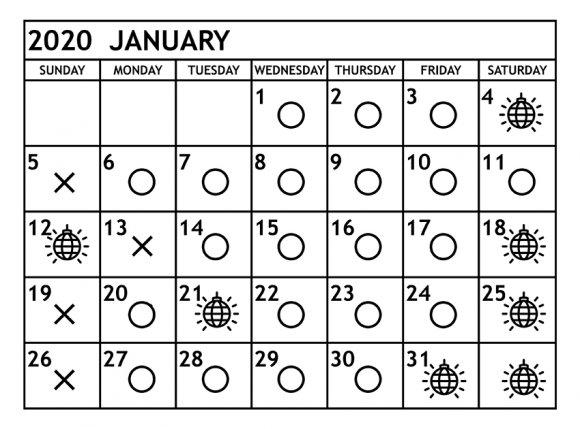 1月の営業予定日