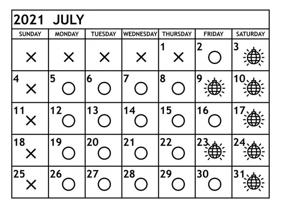 7月の営業予定日